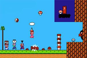 Toad, Luigi, Mario et Peach